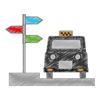 Táxi de londres e sinalização com setas