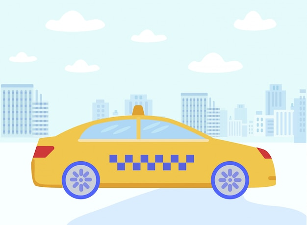 Táxi de táxi amarelo dos desenhos animados, dirigindo a rua da cidade plana