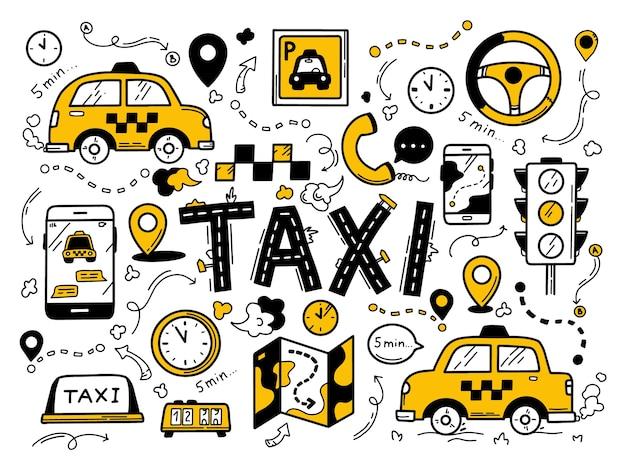 Táxi definido no estilo doodle desenhado à mão