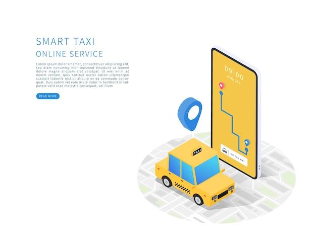 Táxi inteligente conceito de serviço de táxi online vetor plano isométrico com mapa de carro de táxi e smartphone.