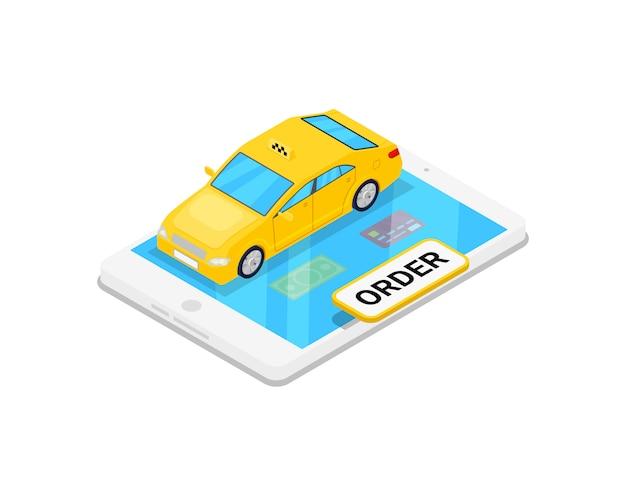 Táxi on-line, pedir ilustração 3d isométrica