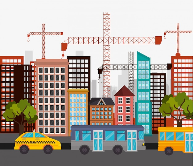 Táxi ônibus cidade rua guindaste construção