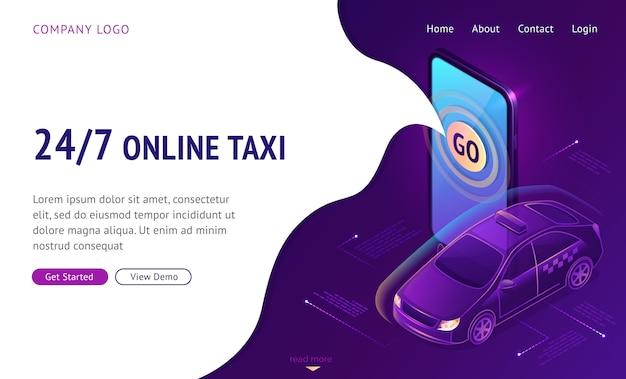 Táxi online 24 7 banner de web de página de destino isométrica