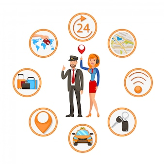 Taxi ordering app ilustração em vetor plana dos desenhos animados