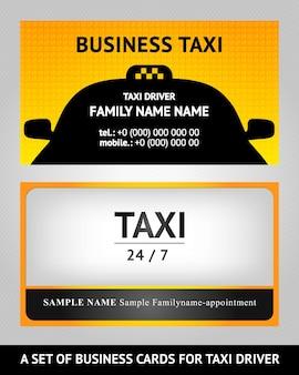 Táxi para cartões de visita - conjunto