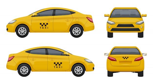 Táxi realista. veículo de carro amarelo da cidade, marca de táxi superior esquerdo e lado direito fotos 3d definidas isoladas