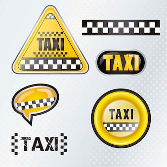 Táxi táxi conjunto símbolos com fundo prateado