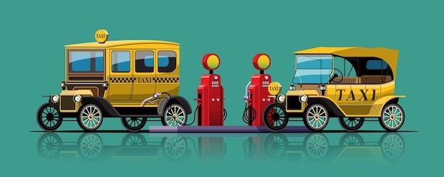 Táxis conversíveis antigos estacionam para abastecer no tanque de combustível