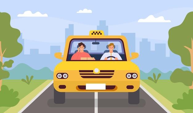 Taxista e cliente. carro de movimentação de homem e passageiro com smartphone. vista frontal da cabine na paisagem da cidade. conceito de vetor app táxi plana dos desenhos animados. motorista de táxi automotivo e passageiro dirigindo na ilustração da cabine
