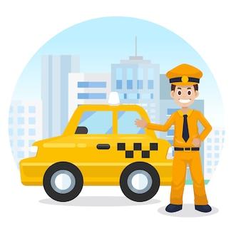 Taxista na cidade. táxi amarelo