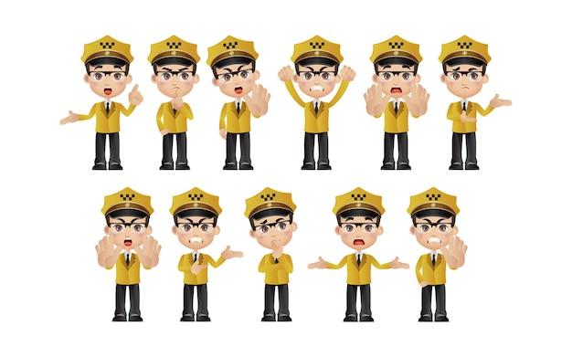 Taxista. pessoas com poses diferentes.