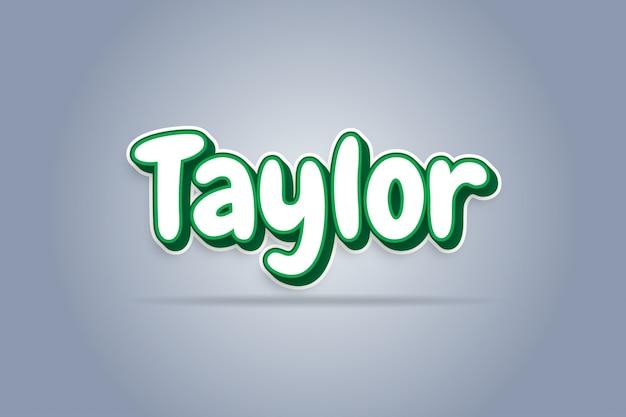 Taylor - efeito de texto 3d branco verde