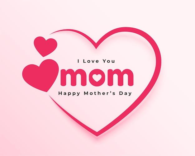 Te amo cartão de coração de mãe para o dia das mães