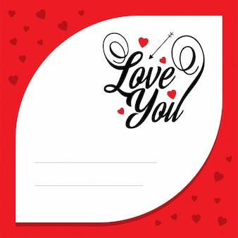 Te amo com carta de amor vermelha