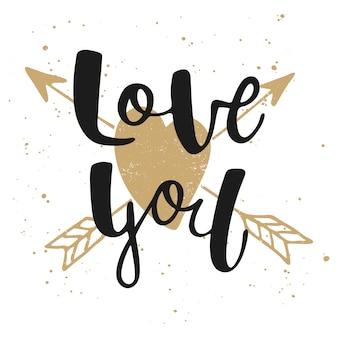 Te amo com coração e flechas