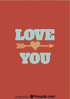 Te amo design retro cartão