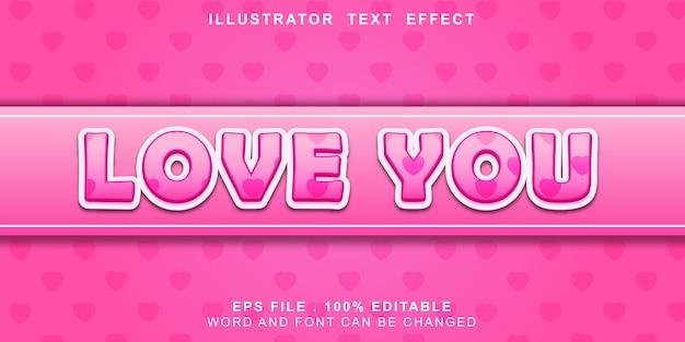 Te amo efeito tex editável