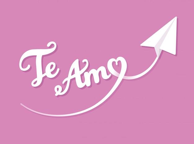 Te amo (eu te amo em espanhol) cartão de dia dos namorados