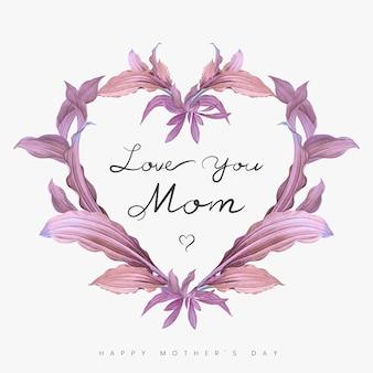 Te amo mãe lettering com moldura de coração