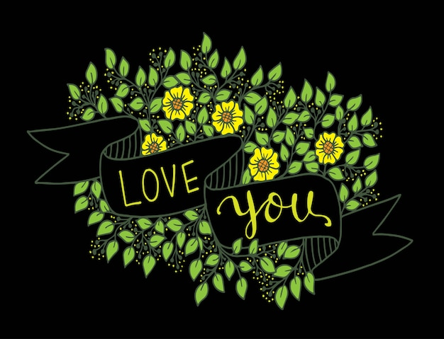 Te amo mão lettering com fita e flores de fundo