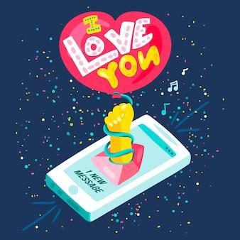 Te amo mensagem isométrica do bate-papo do smartphone. cartaz criativo ou cartão com notificação de mídia social 3d. elemento para design gráfico ou web. ilustração vetorial