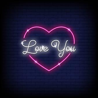 Te amo neon sinais estilo texto vector