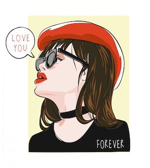 Te amo para sempre com a menina na ilustração de chapéu vermelho