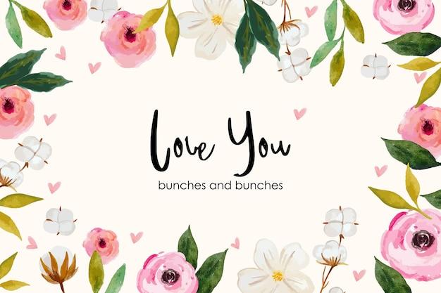 Te amo, tema de fundo floral