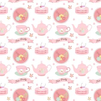 Tea party seamless pattern design em rosa