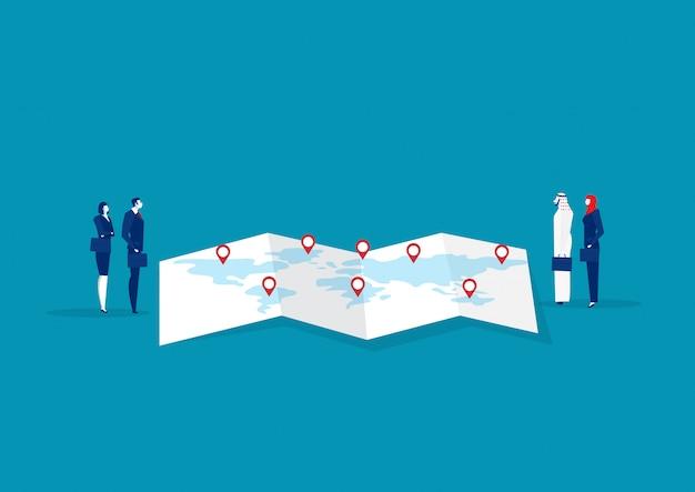 Team business machine trad no conceito de exportação e importação de mapa.