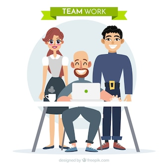 Team work concept com design plano