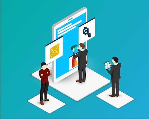 Teamwork create model elementos de design de infográficos isométricos