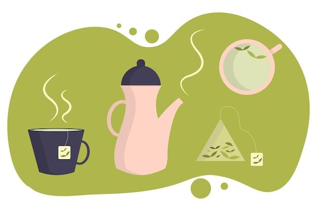 Teaset vector conjunto de chá canecas e xícaras para chá chaleira quente bule saquinho de chá