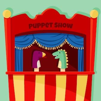 Teatro de fantoches ilustrado para fundo infantil