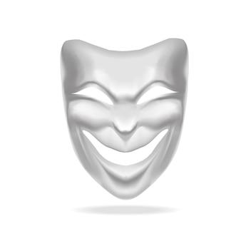 Teatro de máscara de comédia branca em branco.