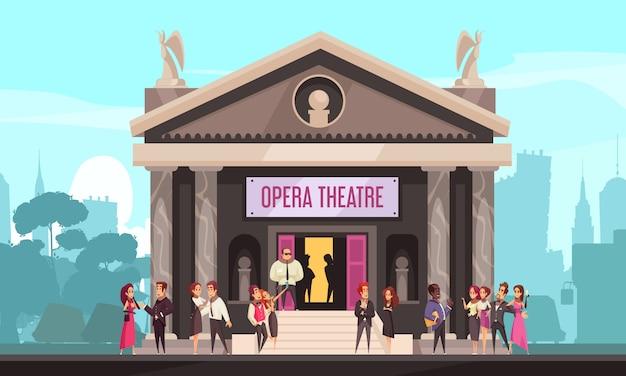 Teatro de ópera que constrói a vista exterior da fachada com o público na paisagem urbana de escada de entrada frontal plana