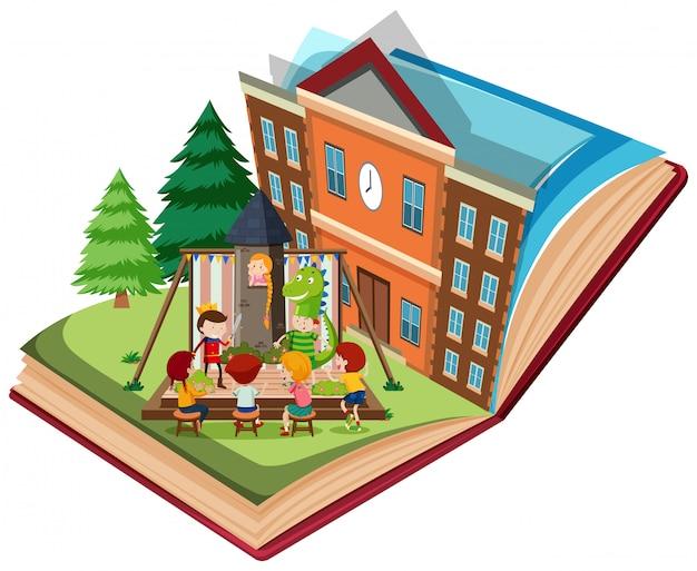 Teatro, jogo, em, escola, ligado, livro aberto