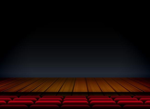 Teatro ou palco modelo para show premier com assento e piso de madeira