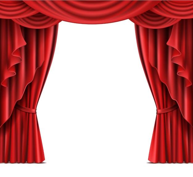 Teatro, palco, vermelho, cortinas, realista, vetorial