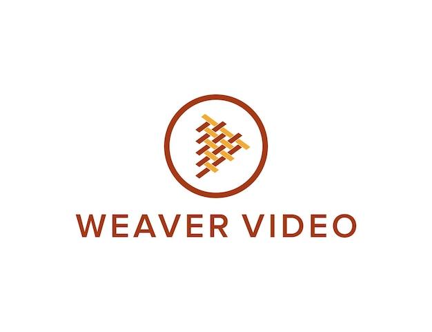 Tecelão e botão de reprodução de vídeo simples, elegante, criativo, geométrico, moderno, logotipo