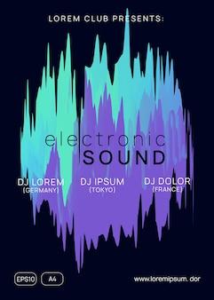 Techno party. arte ondulada para apresentação. evento wave neon. padrão futurista para modelo de folheto. conceito de som e concerto. festa techno roxo e turquesa