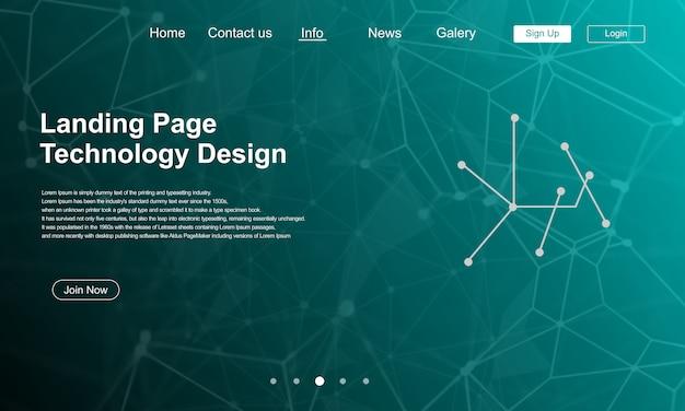 Technology landing page design com tráfego de fundo