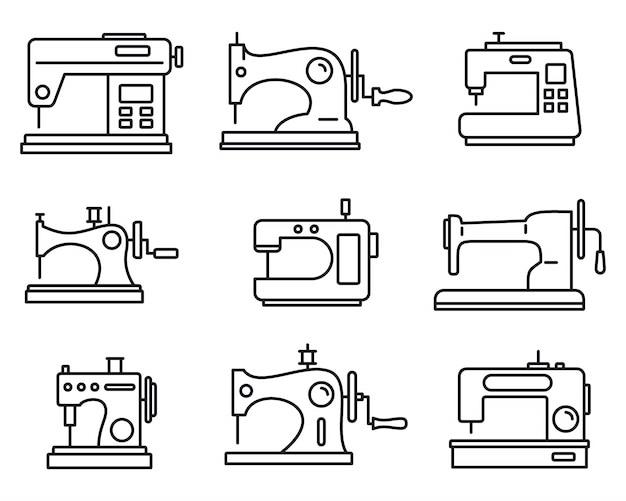 Tecido costurar conjunto de ícones de máquina