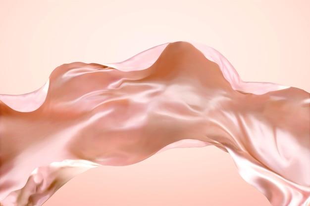 Tecido de cetim esvoaçante em fundo rosa na ilustração 3d