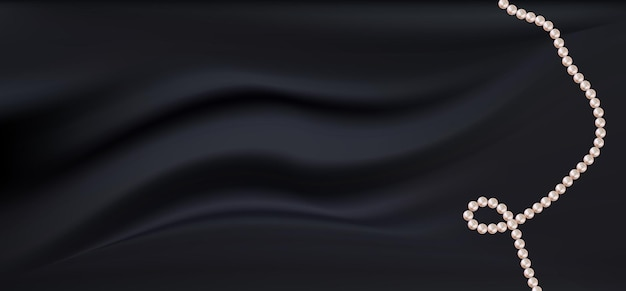 Tecido de cetim preto escuro realista com pérolas