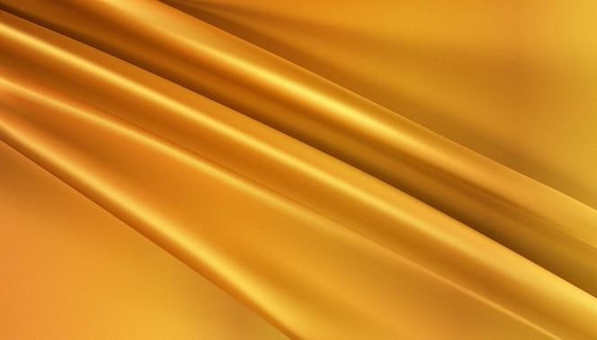 Tecido de seda dourado fundo abstrato 3d realista rodado têxtil
