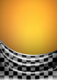 Tecido de seda em xadrez sobre um fundo amarelo