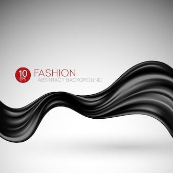 Tecido de seda preto voador. fashibackground