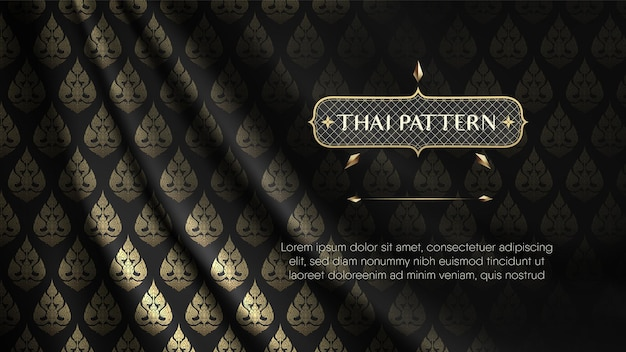 Tecido de seda rip curl realista preto e dourado cortina com padrão de flores tailandesas
