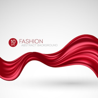 Tecido de seda vermelho voador. fashibackground